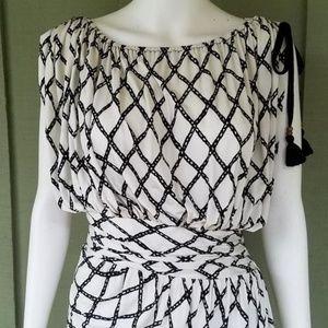 Tracy Reese Dress Slinky Ruched Medium Tassels